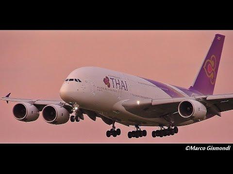 Thai Airways Airbus A380-841 landing at London Heathrow 09L