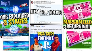 Fortnite: Fuite 3 Étapes de l'ORB, PS4 Cup, Saison 10 MAP/Back In Time, Marshmello Returning!