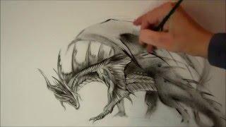 Как нарисовать дракона(Как нарисовать дракона поэтапно в технике сухая кисть вы узнаете из видео. Рисует Светлана Белова http://artbs.ru/p..., 2016-03-02T03:53:24.000Z)