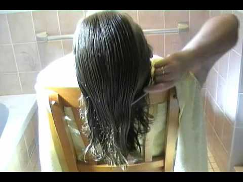 combing wet long hair