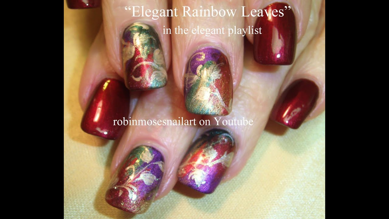 Red and Gold Autumn Leaves Nail Art | Elegant Nails Design Tutorial ...