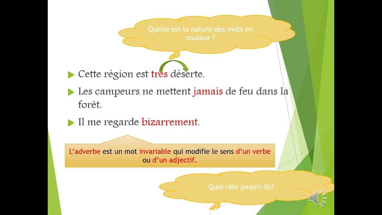 #L'adverbe leçon de grammaire l'adverbe - YouTube
