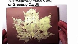 Maple Leaf Card, Thanksgiving Place Card, Greeting Card, Wall Art, Kids Craft Fall Autumn Craft