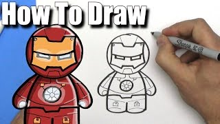 How To Draw Ironman - EASY Chibi - Step By Step - Kawaii
