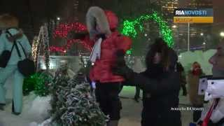 Christmas Light Show Under Way in Moscow Park