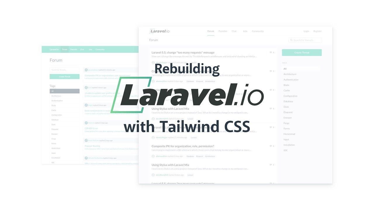 Rebuilding Laravel io with Tailwind CSS - YouTube
