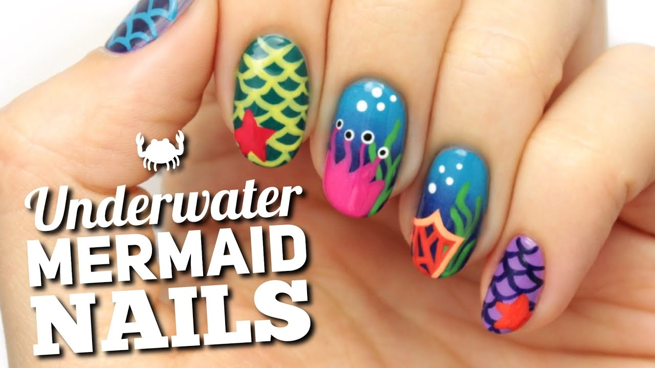 Mermaid ocean nail art design youtube prinsesfo Images