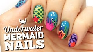 Mermaid & Ocean Nail Art Design