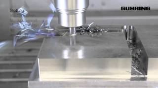 Guhring RF 100 end mills demonstrating high speed machining