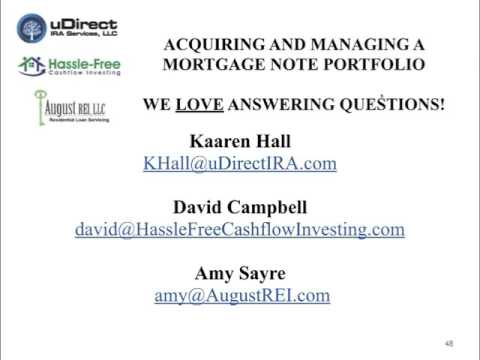 Acquiring And Managing Mortgage Note Investments  Part Two  QA