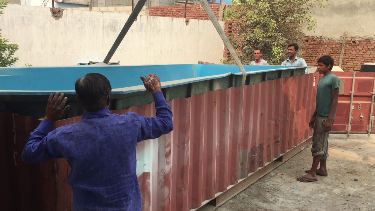 less than 8 ft swimming pool in container as deck and covering
