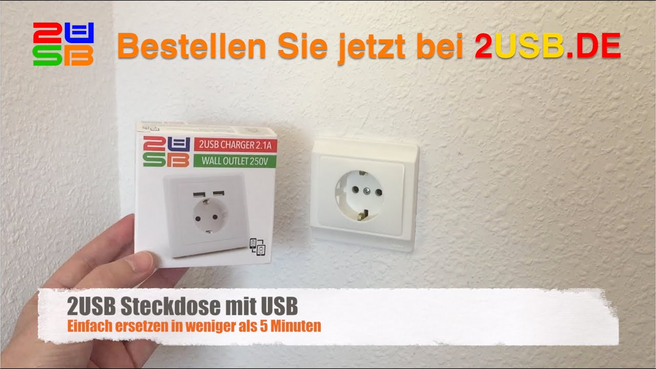 wie installiere ich ein 2usb schuko steckdose mit usb ladeger t youtube. Black Bedroom Furniture Sets. Home Design Ideas
