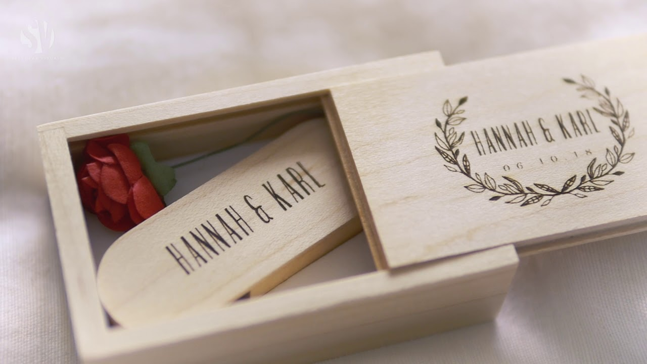 Personalised wedding gifts. Engraved USB and presentation box