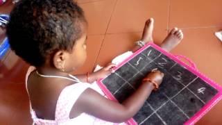 Baby Gunalini (2.6 Yrs) write numbers 1-10 | Preschool Kids video | Learning Numbers