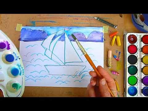 1 клас. Мистецтво. Малюємо море та кораблик