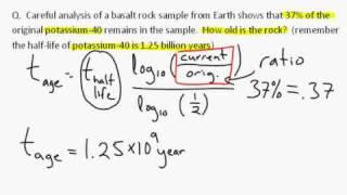 Radioactive dating equation