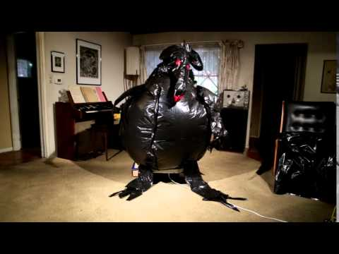 homemade garbage bag inflatable creature halloween 2015 from YouTube · Duration:  15 seconds