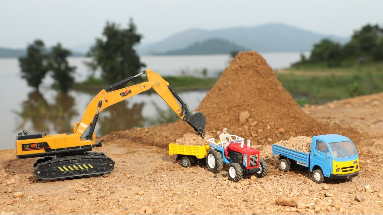 Jcb fully Loading Sand Mini Truck And Accident Pit ? Pulling Out HMT Tractor | Mini TataAce | CS Toy