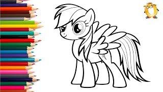 Раскраска для детей МОЙ МАЛЕНЬКИЙ ПОНИ. Литл пони Радуга. Учим цвета.