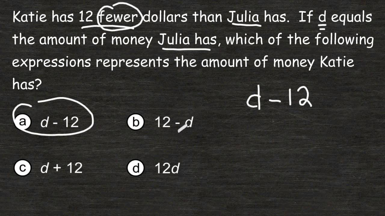 writing algebraic equations word problems