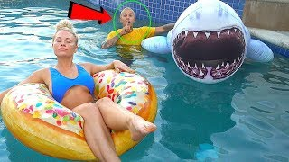 SHARK in POOL with GIRLFRIEND!! funny reaction!