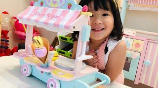 クレープワゴンのおもちゃでお店屋さんごっこ Haru play cafe with Crepe cart Toys