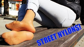 I Take Off My Boots On The Street And Show My Legs In Socks And Pantyhoses