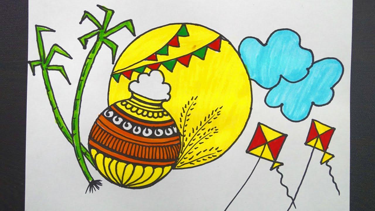 Festival Drawing Easy Pencil Pongal Drawing Novocom Top