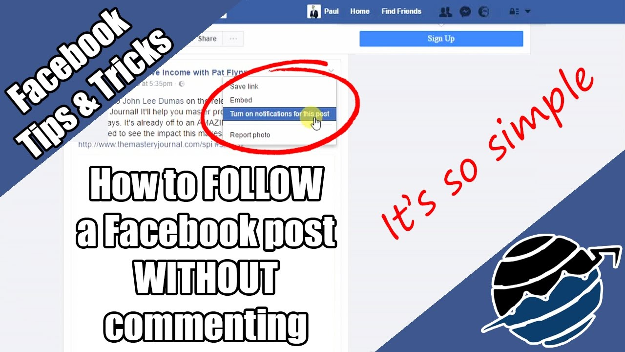 How to FOLLOW a Facebook post WITHOUT commenting