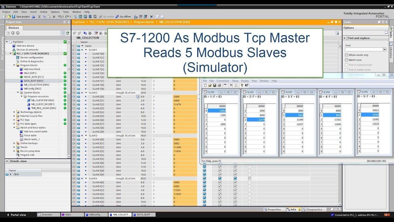 S7 1200/S7-1500 As Modbus Tcp Master Reads 5 Modbus Slaves