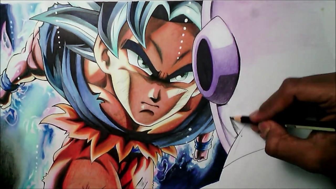 Speed drawing goku ultra instinct goku vs jiren youtube - Goku ultra instinct sketch ...