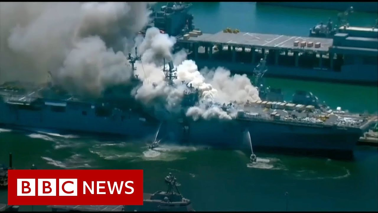 US Navy ship fire: Sailors and fire crew injured - BBC News