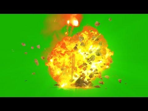 Green Screen Bomb Explosion Bouncing Debris - Footage