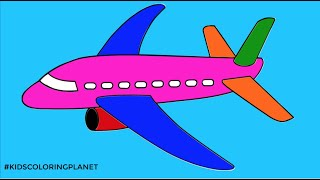 How To Draw Aeroplane - Learn Colors By Drawing Aeroplane - Kids Coloring Planet