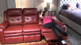Living room furniture, leather sofa, Clearwater, space saver wall hugger adjustable head rest