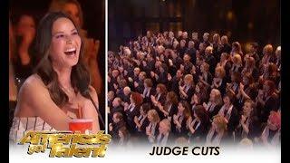 Angel City Chorale: HUUGE Choir Get Olivia Munn's GOLDEN BUZZER!! | America's Got Talent 2018