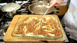 GreekFoodTv Pastitsio - Greek Baked Pasta, Ground Meat Sauce, Bechamel