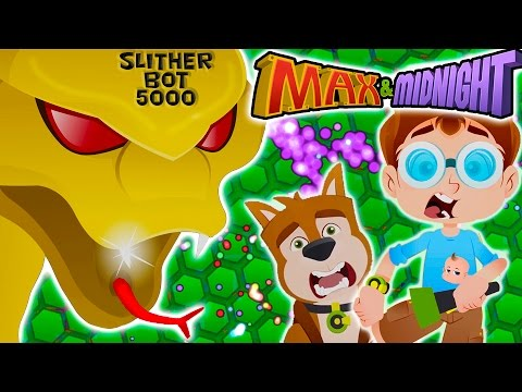SLITHER.IO CARTOON PARODY!  Giant Robot Monster Snake!!! Family Fun for Kids! Max & Midnight Ep 5