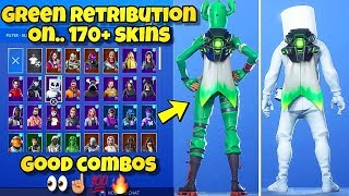 "NOUVEAU GREEN ""RETRIBUTION"" BACK BLING Showcased With 170'SKINS! Fortnite BR (GREEN RETRIBUTION COMBOS)"