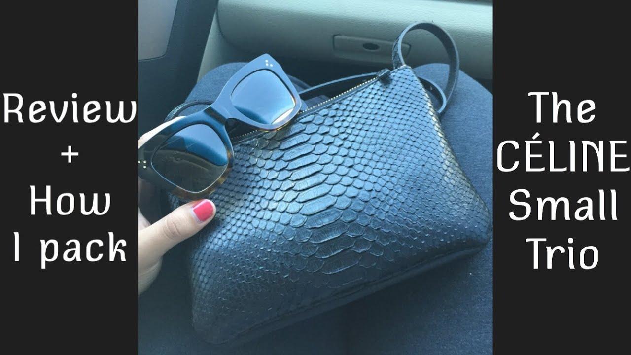 celine blue python handbag trio