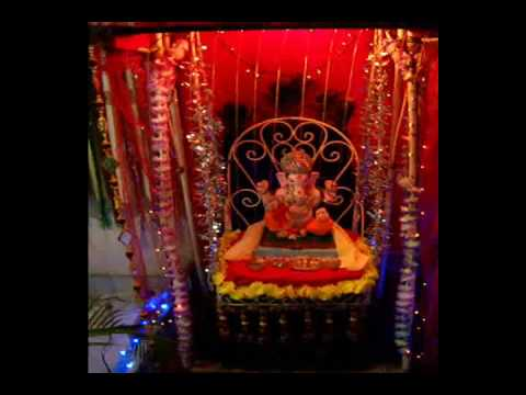 My home Ganpati decoration water curtain YouTube