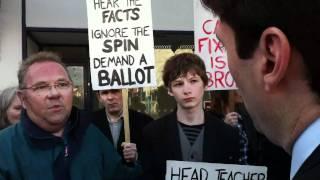 Andy burnham talks to southport anti-academies