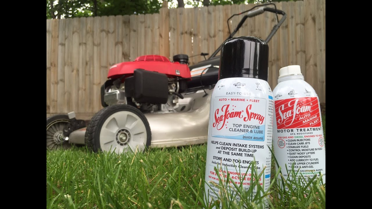 medium resolution of adding sea foam to lawn mower fuel intake cleaning with sea foam spray youtube