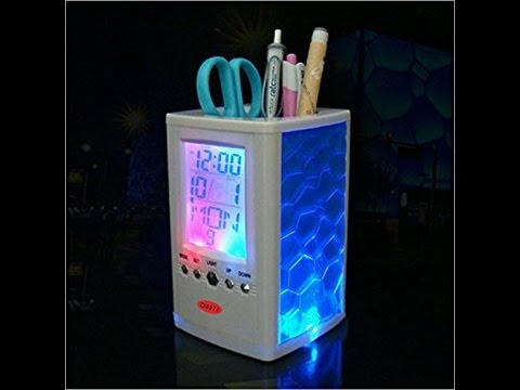 charming-pen-holder---desk-organizer---unbox-&-setup-guide---temperature-calendar-alarm-function