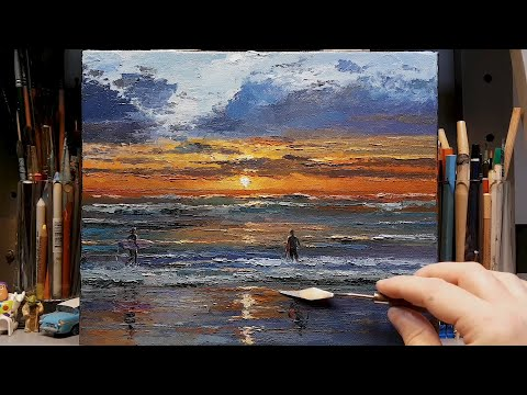 Back Beach Lancelin Surfer Sunset – Palette Knife | Brush Oil Painting – Dusan