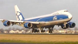 Close up HEAVY planes landing - Plane spotting at Schiphol Amsterdam (HD)
