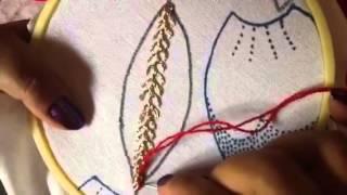 Aprendendo mais pontos para bordado de folhas e petalas