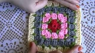 Вязание крючком. Бабушкин квадрат с декоративными стежками.