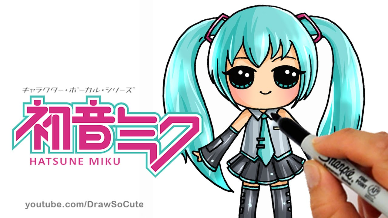 How to draw hatsune miku step by step chibi cute japanese anime girl youtube
