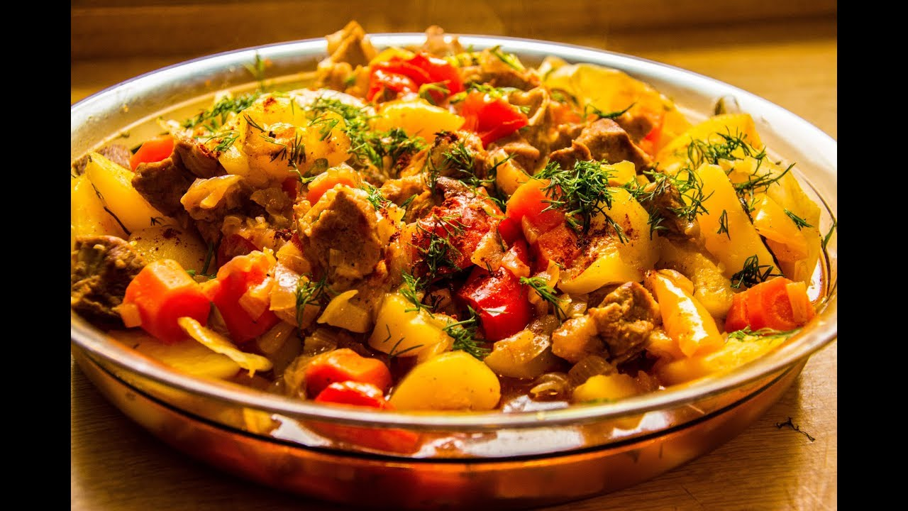 Leichtes Mittagessen zum nachmachen   Gemüse Ragout mit Schweinefleisch und viel Gemüse